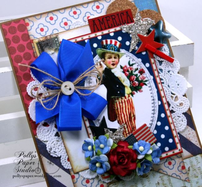 Patriotic Boy Greeting Card Home Decor Holiday Polly's Paper Studio 03