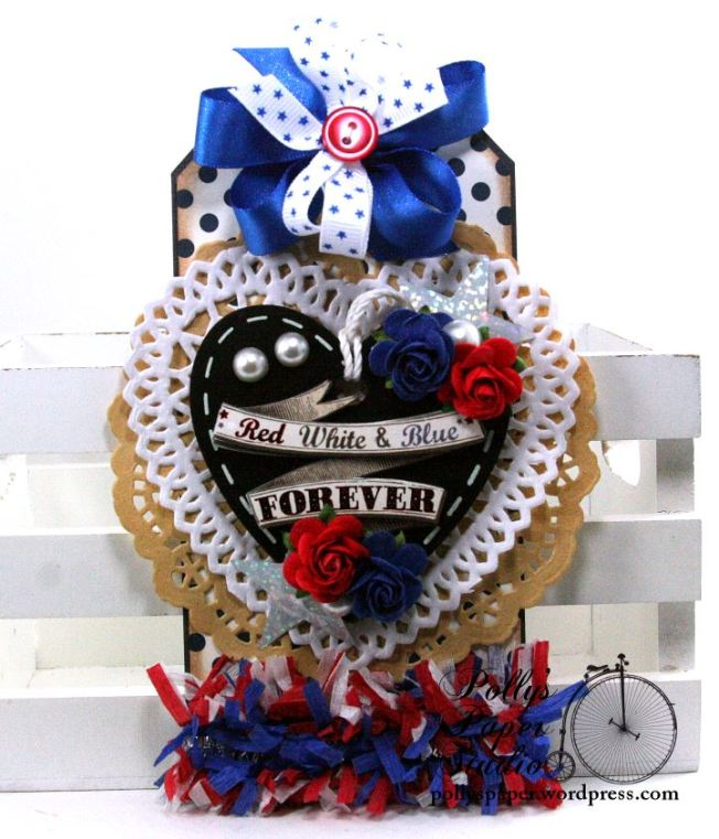 Red White And Blue Forever Patriotic Tag Holiday Home Decor Polly's Paper Studio 01