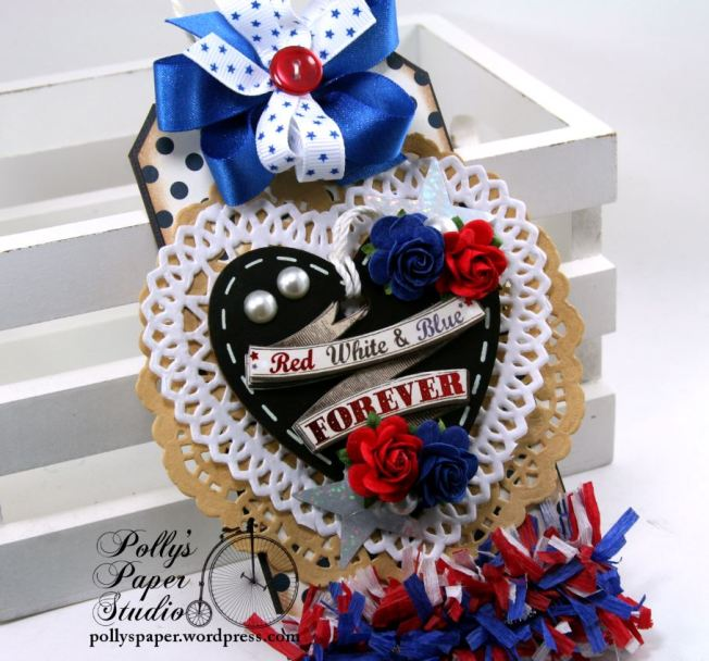 Red White And Blue Forever Patriotic Tag Holiday Home Decor Polly's Paper Studio 02