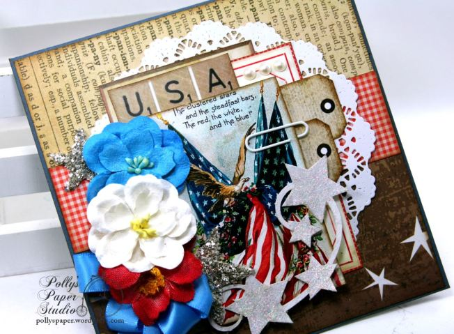 The Red White and Blue Patriotc Eagle Card Holiday Home Decor Polly's Paper Studio 02