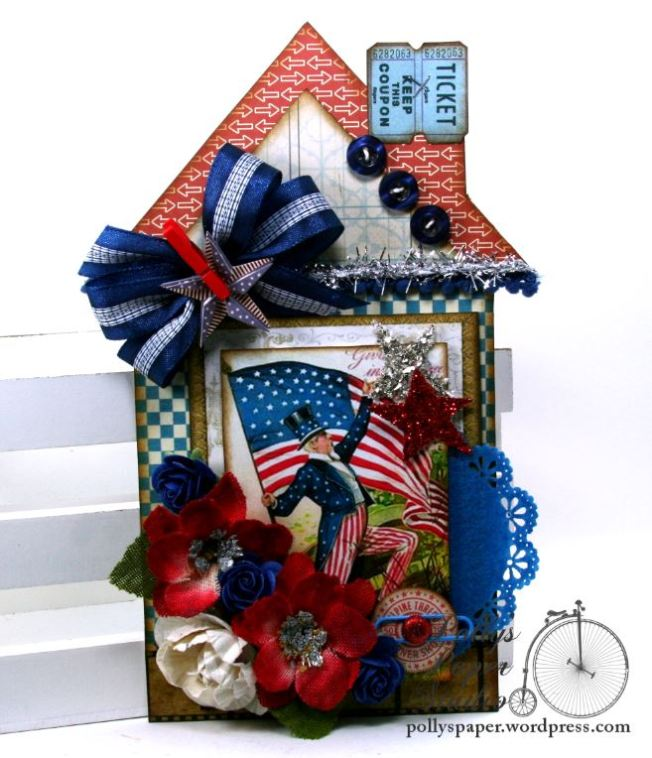 Uncle Sam Patriotic House Tag Holiday Home Decor Polly's Paper Studio 01