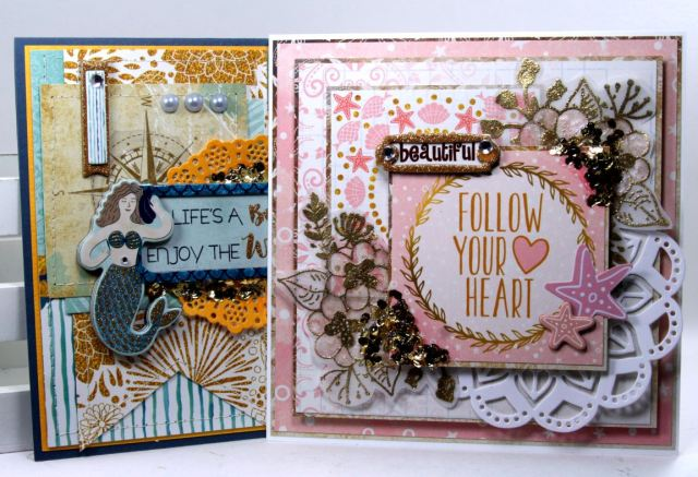 Greeting Card Set by Ginny Nemchak Using BoBunny Down by the Sea Collection