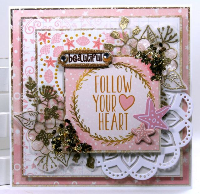 Follow Your Heart Greeting Card  by Ginny Nemchak using BoBunny Down by the Sea Collection