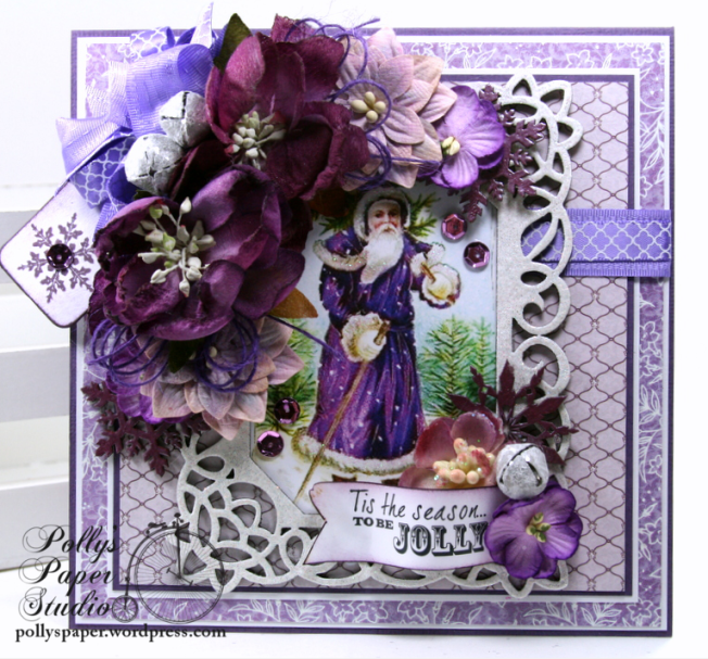 Vintage Purple Christmas Greeting Card Polly's Paper Studio 01
