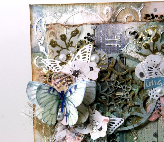 Butterfly Dream Catcher Fine Art by Ginny Nemchak for BoBunny using Serendipity Collection and Pentart Supplies