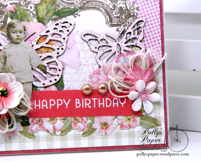 Happy Birthday Butterfly & Vintage Boy Greeting Card Polly's Paper Studio 04