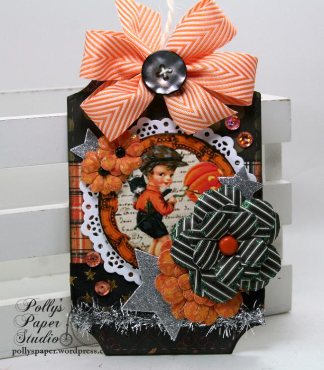 Vintage Pumpkin Boy Halloween Tag Polly's Paper Studio 01