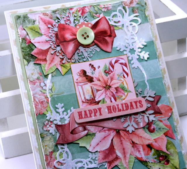 Happy Holidays Christmas Card by Ginny Nemchak Using BoBunny Carousel Christmas
