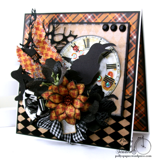 As the Crow Flies Halloween Greeting CArd Polly's Paper Studio Handmade 01