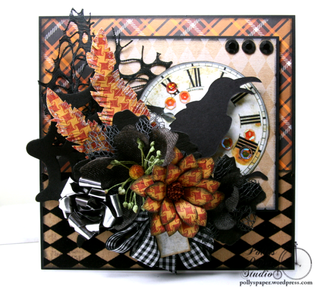 As the Crow Flies Halloween Greeting CArd Polly's Paper Studio Handmade 02