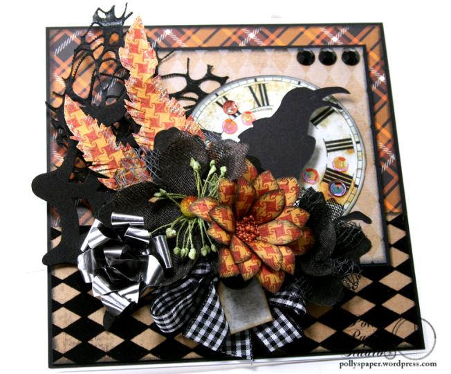 As the Crow Flies Halloween Greeting CArd Polly's Paper Studio Handmade 06