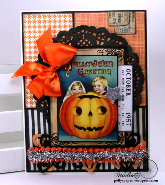 October Calendar Halloween Greeting Card Polly's Paper Studio 02