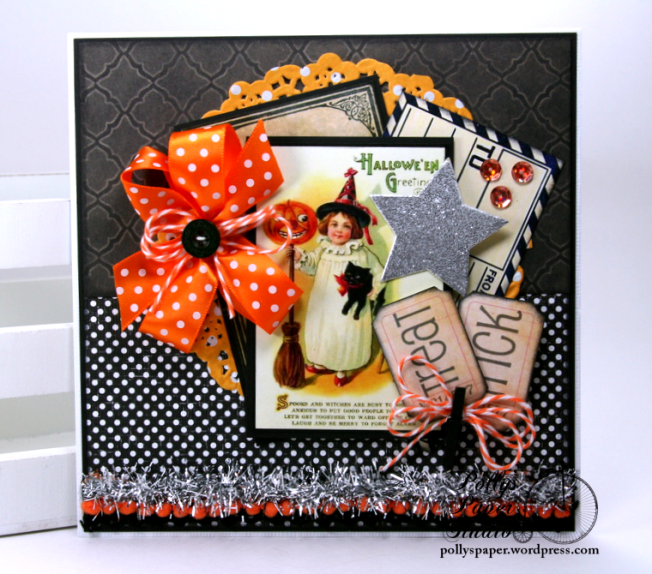 Trick or Treat Tickets Halloween Greeting Card Polly's Paper Studio Handmade 01