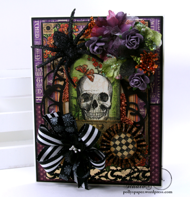 Vintage Halloween Greeting Card Holiday Home Decor Polly's Paper Studio 01