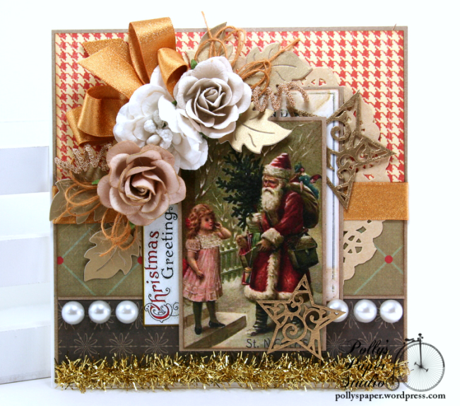 Glittering Gold Christmas Greeting Card Polly's Paper Studio 01