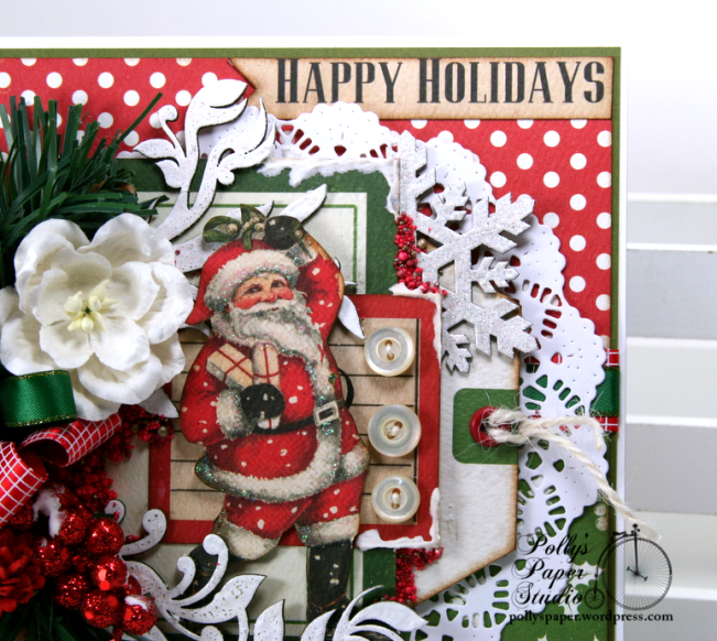 Happy Holidays Vintage Santa Greeting Card Polly's Paper Studio 05