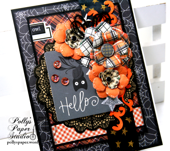 Hello Owl Halloween Greeting Card Polly's Paper Studio 02