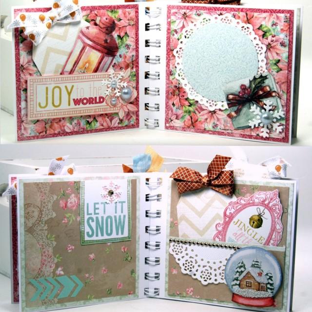 Joy Christmas Mini Album by ginny Nemchak using BoBunny Carousel Christmas and Pentart