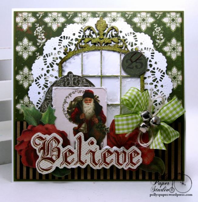 Believe Frosty Window Christmas Greeting Card Polly's Paper Studio 01