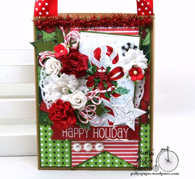 Happy Holiday Christmas Gift Bag Polly's Paper Studio 02