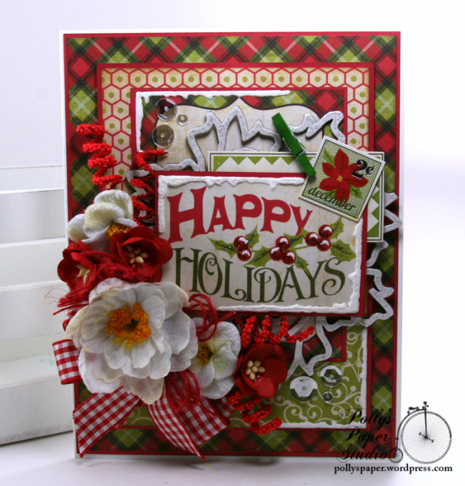 Happy Holidays Christmas Greeting Card Polly's Paper Studio 01