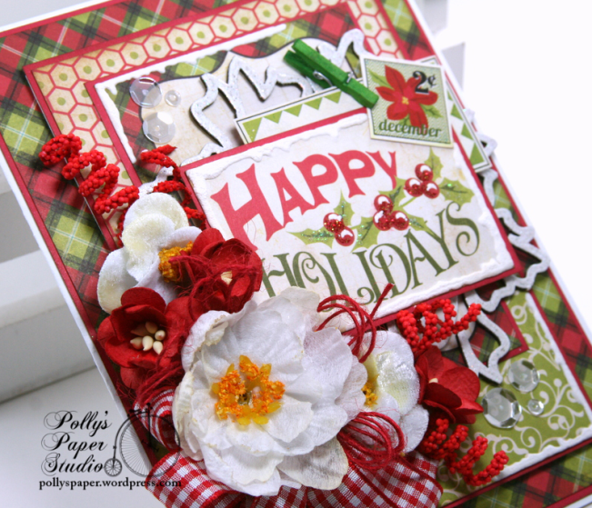Happy Holidays Christmas Greeting Card Polly's Paper Studio 05