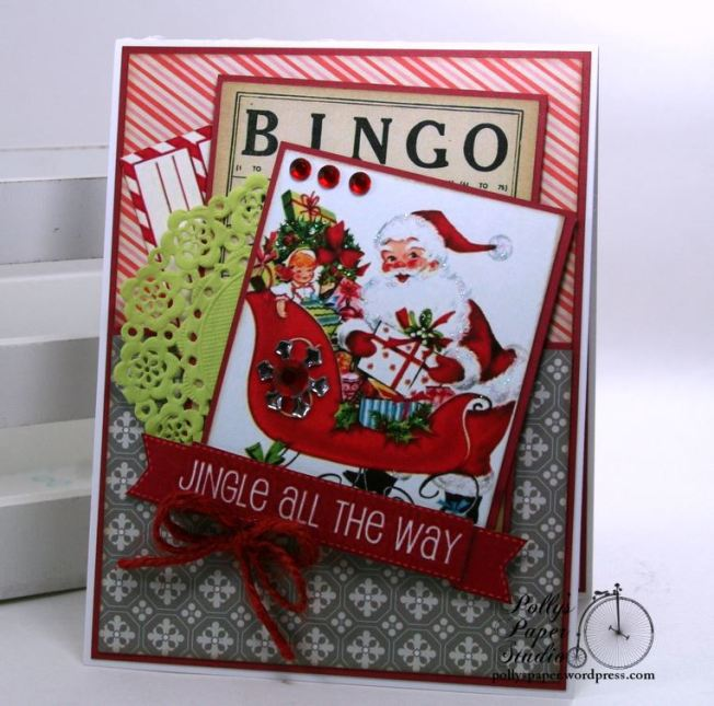 Jingle All the Way Bingo Christmas Card Polly's Paper Studio 01
