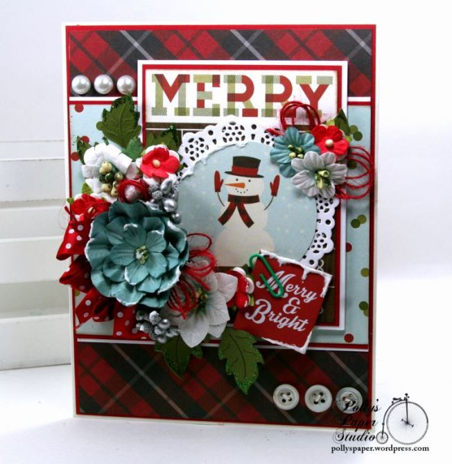 Merry and Bright Snow Globe Christmas Greeting Card Polly's Paper Studio 01