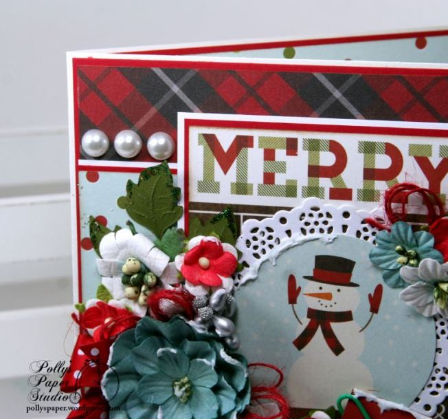 Merry and Bright Snow Globe Christmas Greeting Card Polly's Paper Studio 03