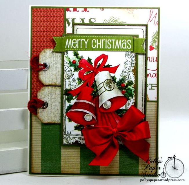 Merry Christmas Greeting Card with Bells Polly's Paper Studio 01