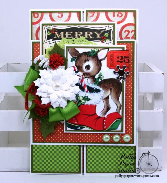 Merry Reindeer Gate Fold Christmas Greeting Card Polly's Paper Studio 01