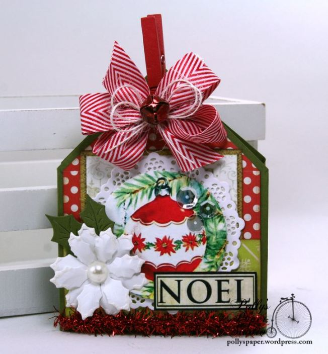 Noel Ornament Christmas Gift Card Holder~Treat Pocket Polly's Paper Studio Handmade 01