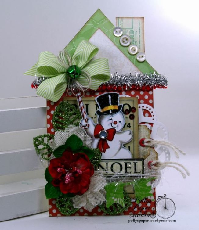 Noel Snowman Christmas House Tag Polly's Paper Studio 01