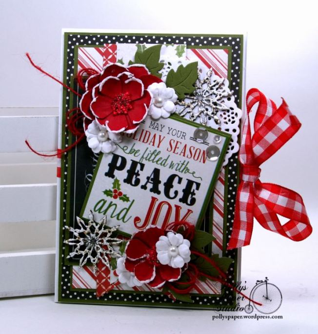 Peace and Joy Bi-Fold Christmas Greeting Card Polly's Paper Studio 01