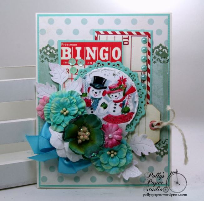Retro Bingo Snowmen Christmas Greeting Card Polly's Paper Studio 01