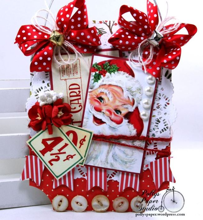 Retro Santa Wall Hanging Holiday Home Decor Polly's Paper Studio 01
