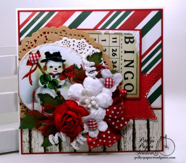 Snowman Bingo Christmas Greeting Card Polly's Paper Studio 01