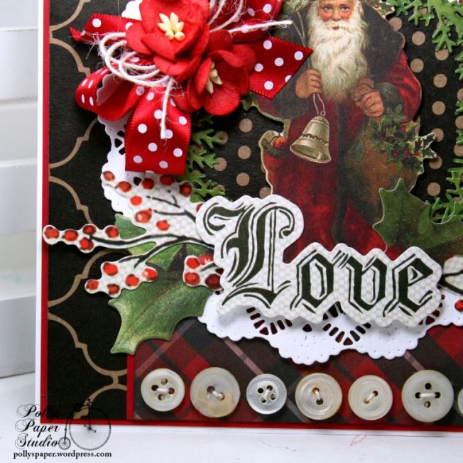 Vintage Santa Love Christmas Greeting Card Polly's Paper Studio 03