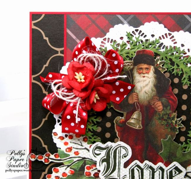 Vintage Santa Love Christmas Greeting Card Polly's Paper Studio 04