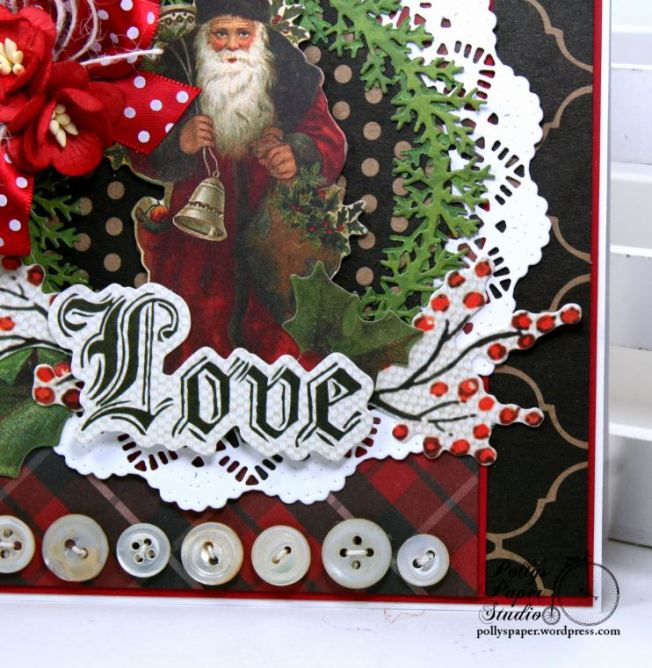 Vintage Santa Love Christmas Greeting Card Polly's Paper Studio 05