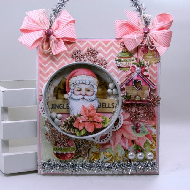 Jingle Bells Shabby Chic Christmas Wall Hanging Ginny Nemchak BoBunny Carousel Christmas