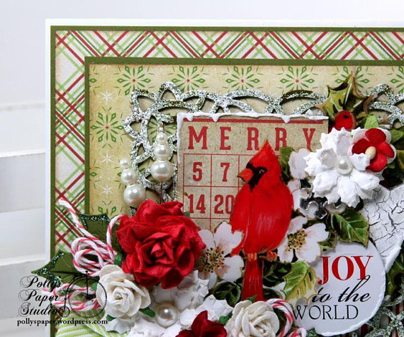 Merry Cardinal Bingo Christmas Greeting Card Polly's Paper Studio 04