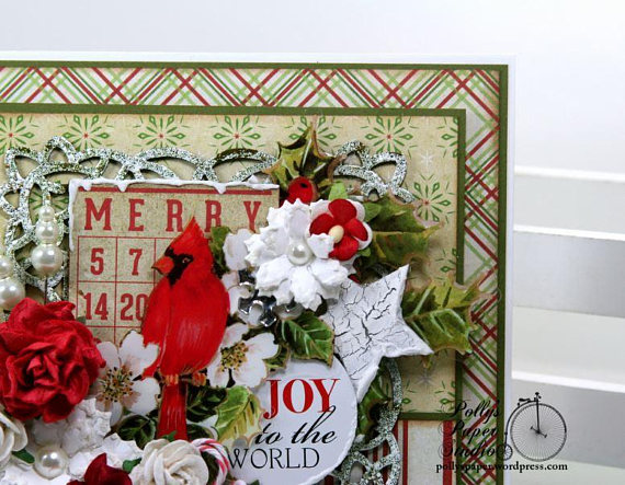 Merry Cardinal Bingo Christmas Greeting Card Polly's Paper Studio 05