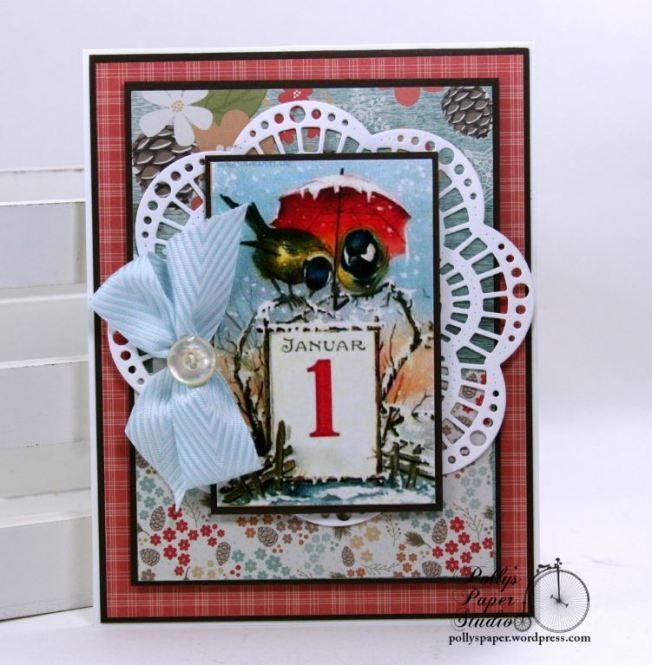 Winter Birds New Years Greeting Card Polly's Paper Studio 01