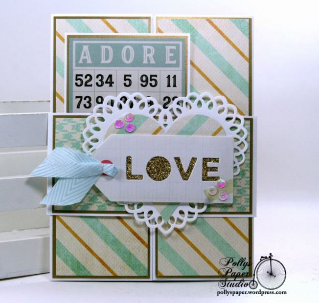 Adore Bingo Valentine Gate Fold Greeting Card with Belly Band Polly's Paper Studio 01