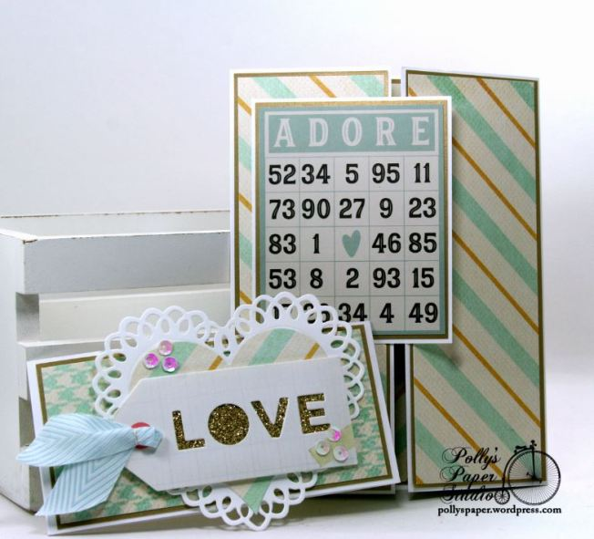 Adore Bingo Valentine Gate Fold Greeting Card with Belly Band Polly's Paper Studio 02