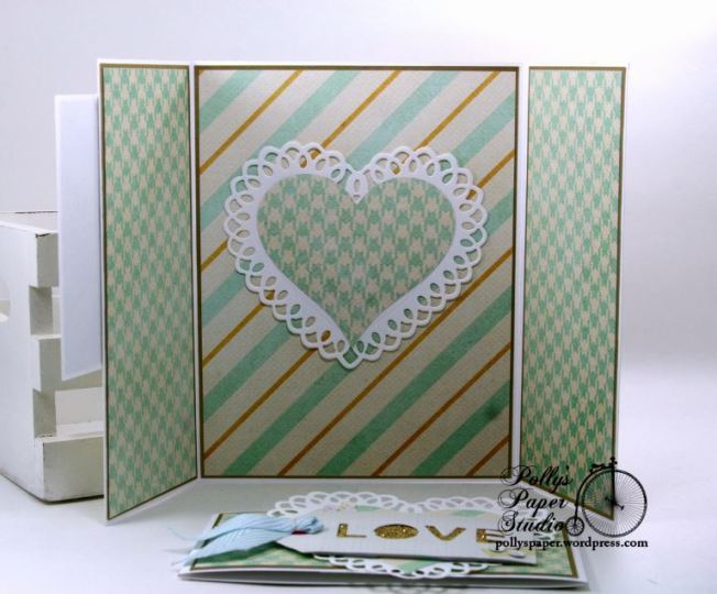 Adore Bingo Valentine Gate Fold Greeting Card with Belly Band Polly's Paper Studio 03