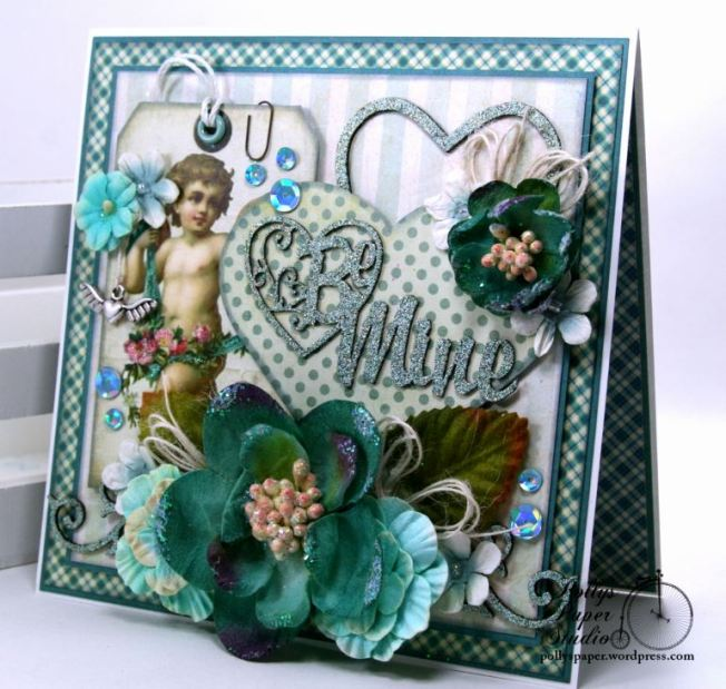 Be Mine Vintage Valentine Greeting Card Polly's Paper Studio 01