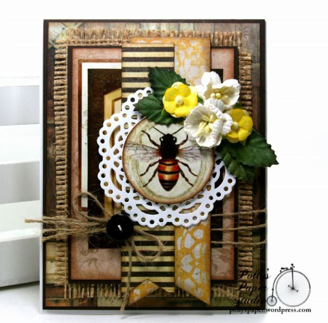 Burlap and Bee Greeting Card Polly's Paper Studio 02