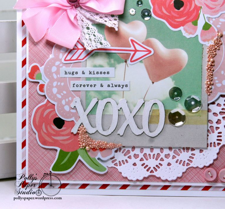 Hugs kisses valentine greeting card pollys paper studio altered chipboard and tiny word stickers here to make a multi layer sentiment m4hsunfo